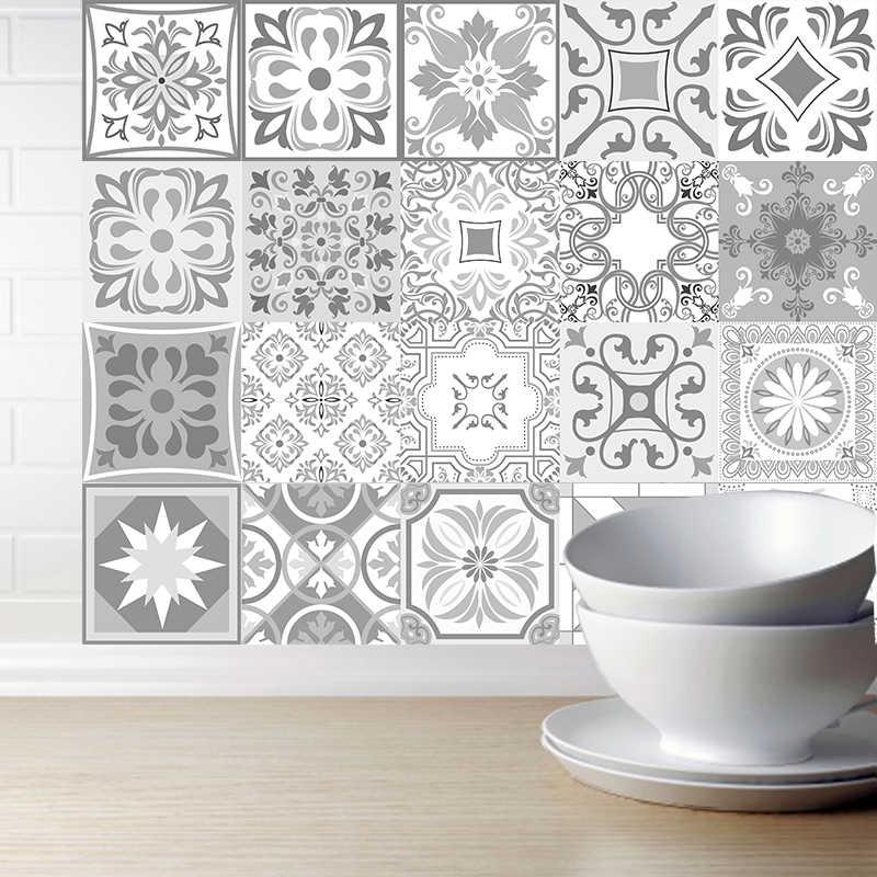 Trang Trí Retro Maroc Ốp Nhựa PVC Ngói Miếng Dán Màu Xám Màu Nghệ Thuật Treo Tường Decal Dán Keo Chống Thấm Nước Nhà Bếp Backsplash Phòng Tắm Deco