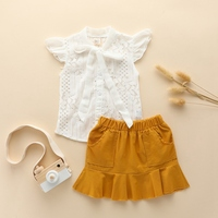 Fashion Baby Girls Clothing Sets Summer Slim Thin Cool Lace Floral Casual T shirt Tops+Shorts Sashes Kids Outfits Set White