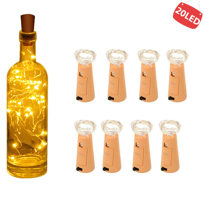 String Lights Wine Bottle With Cork 20 LED Bottle Lights Battery Cork  For Party Wedding Christmas Halloween Garden Decoration