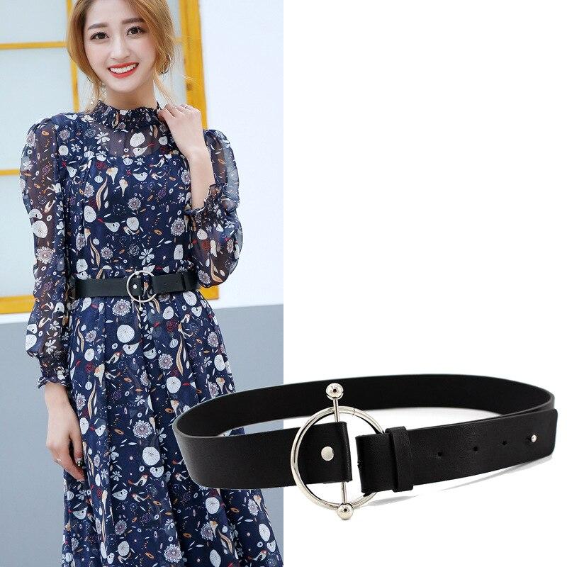 Designer New Women's Fashion Adjustable Button Trousers Belts Decorative Belt Women's Leisure Wide Belt Holographic