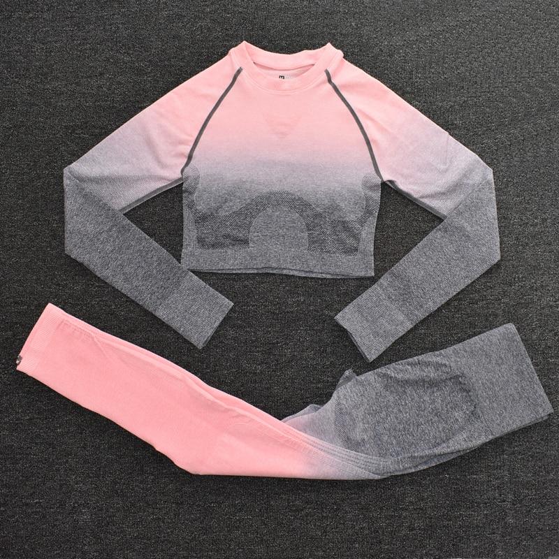 ShirtsPantsPink2 - Women's Sportwear Seamless Fitness Gradient Yoga Set