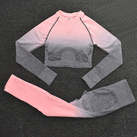 ShirtsPantsPink2 - Women's Sportwear Seamless Fitness Gradient Yoga Set