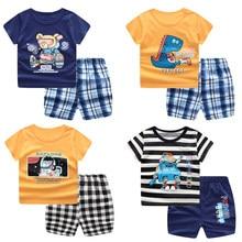 Crianças casuais meninos roupas ternos do esporte verão crianças conjuntos de roupas dos desenhos animados da criança meninas topo + calça 2 pçs/sets outfit