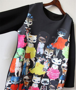 Image 5 - נשים חתול חמוד Cartoon הדפסת שמלה מזדמן רופף ארוך שרוול בתוספת גודל שחור ישר מסיבת אלגנטי בציר מיני שמלות
