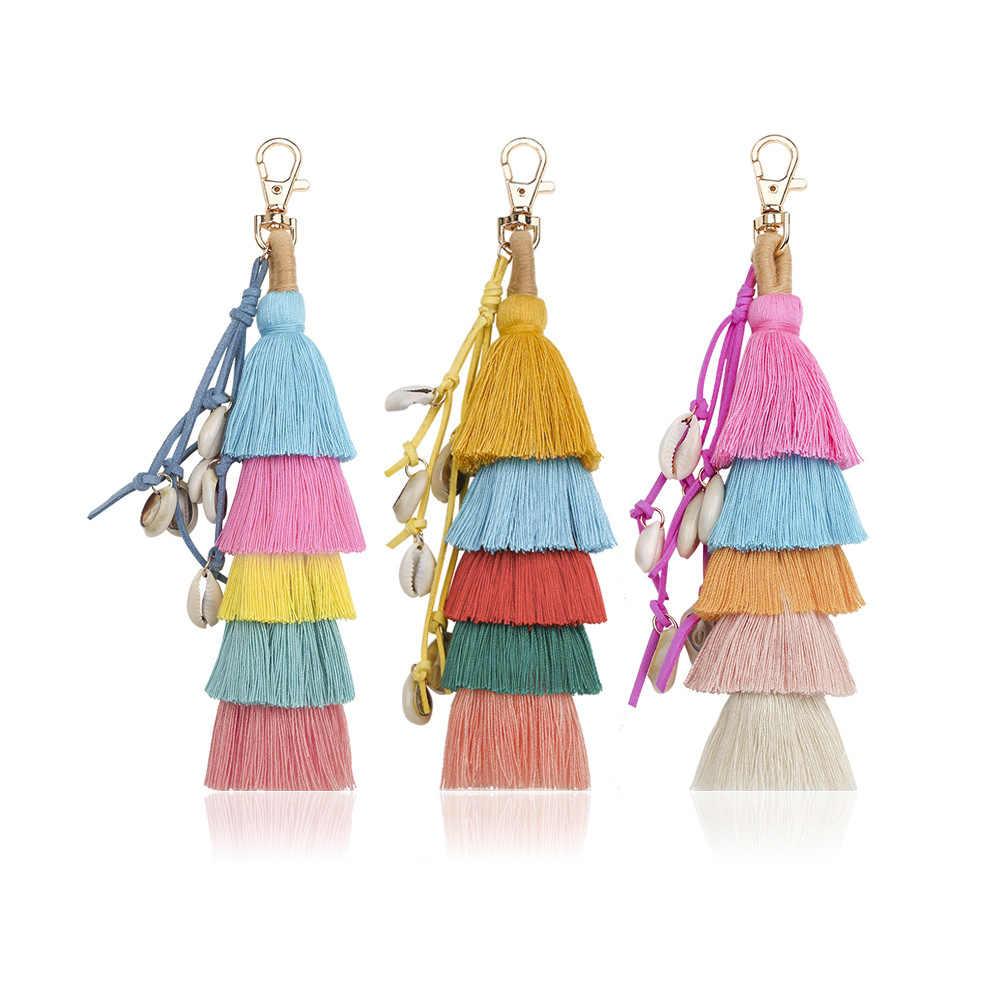 Novas borlas moda, prendedores de chave, shell wraps, pingentes, pingentes de pelúcia, europeus e Americanos jóias das mulheres