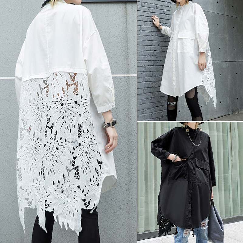 Women Lace Crochet Shirt ZANZEA Casual Lapel Neck Long Sleeve Hollow Out Blouse Loose Long Tops Femme Patchwork Blusas Chemise 7