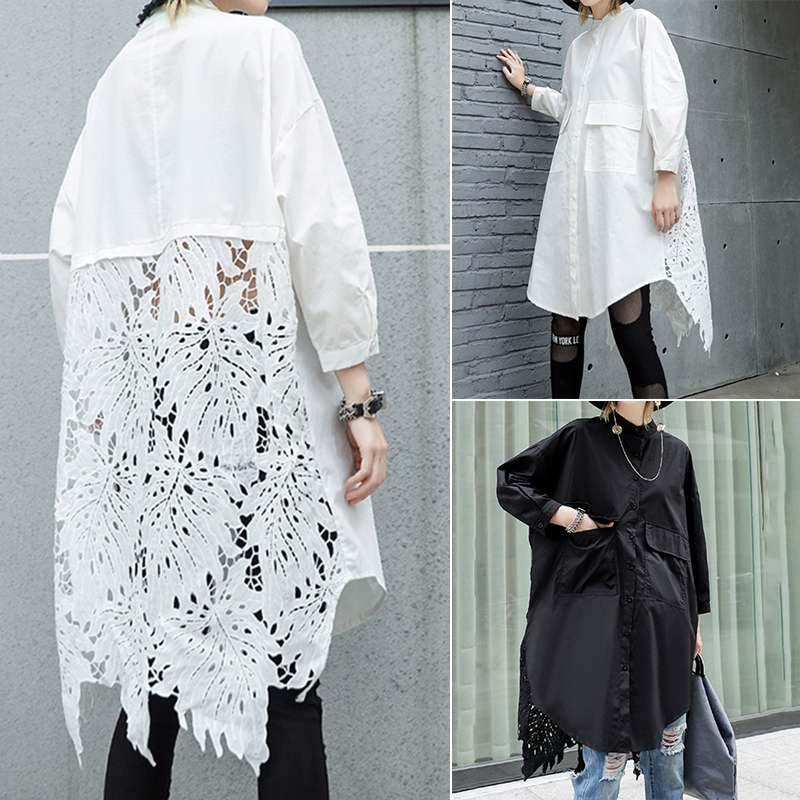 Women Lace Crochet Shirt ZANZEA Casual Lapel Neck Long Sleeve Hollow Out Blouse Loose Long Tops Femme Patchwork Blusas Chemise 7