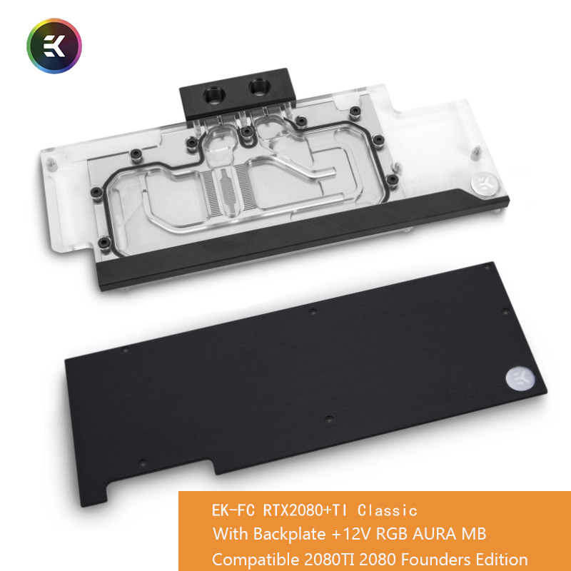 EKWB RTX 2080 +Ti Classic <font><b>RGB</b></font> Founders <font><b>GPU</b></font> Water Block for NVIDIA® GeForce RTX 2080 and RTX 2080 TI graphics card with backplate image