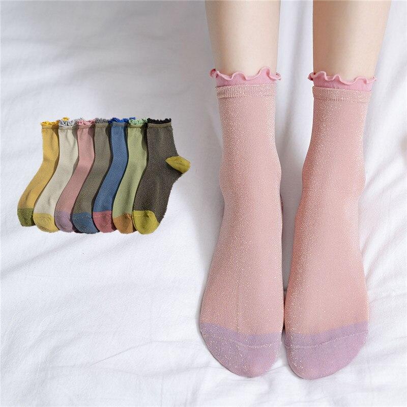 2020 Spring Shine Hemming Thin Women Socks Patchwork Color Breathable Ankle Socks For Female Original Hipster Sox Trendy