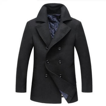 2019 Winter New Style Men's Fashion Woolen Coat Thick Trench Coat Jackets Men's Casual Windbreaker Woolen Coats Men Overcoa