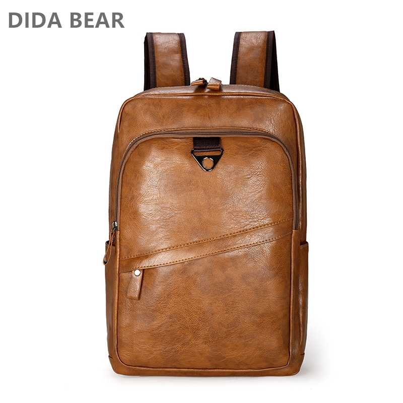 DIDA BEAR  Men Backpack PU Leather Bagpack Large laptop Backpacks Male Mochilas Casual Schoolbag For Teenagers Boys High Quality