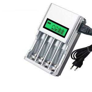 Image 1 - شاشة الكريستال السائل مع 4 فتحات شاحن بطارية ذكي الذكية لبطاريات AA / AAA NiCd NiMh قابلة للشحن