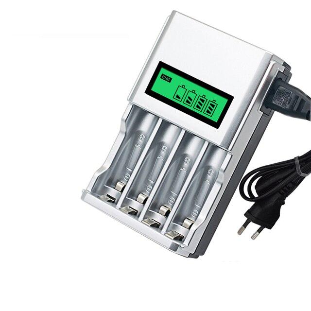 شاشة الكريستال السائل مع 4 فتحات شاحن بطارية ذكي الذكية لبطاريات AA / AAA NiCd NiMh قابلة للشحن