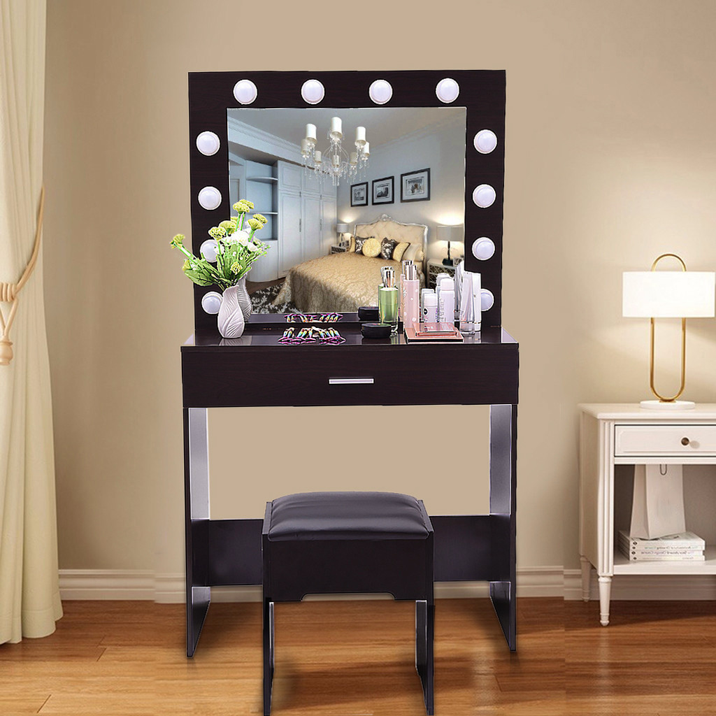 Vanity Set With Lighted Mirror Cushioned Stool Dressing Table Bedroom Vanity Makeup Table Drawer Vanity Table Set 2020 New Hot 3 Camping Tables Aliexpress