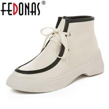 FEDONAS خمر النساء البقر جلد الغزال حذاء من الجلد الكعب العالي دراجة نارية الأحذية الخريف الشتاء أحذية قصيرة امرأة أحذية ركوب الخيل