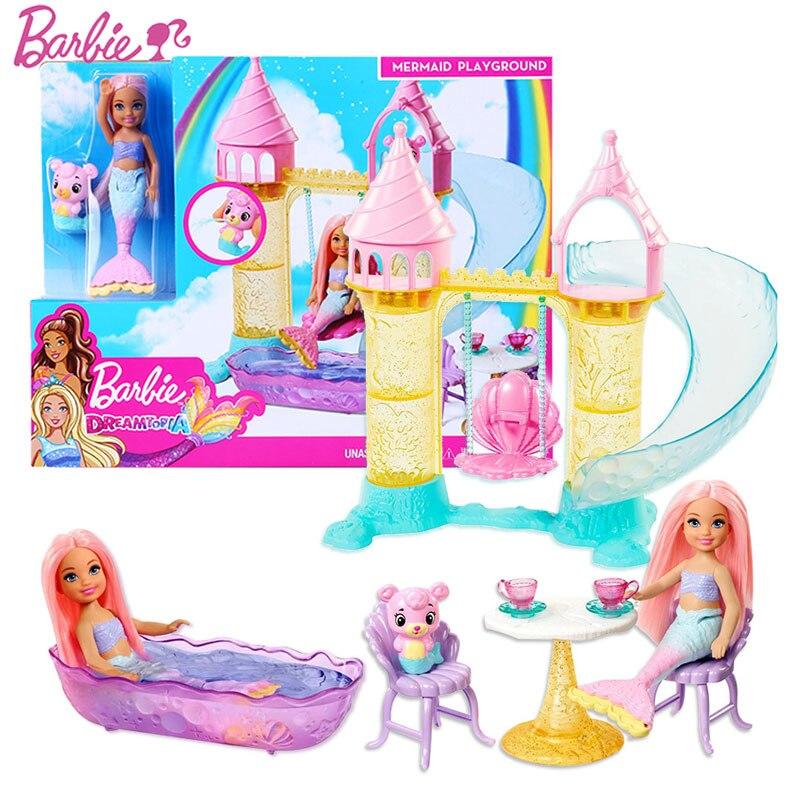Original boneca barbie chelsea sereia playground brinquedo conjunto menina sono topia slide castelo fxt20 menina brinquedo presente de natal