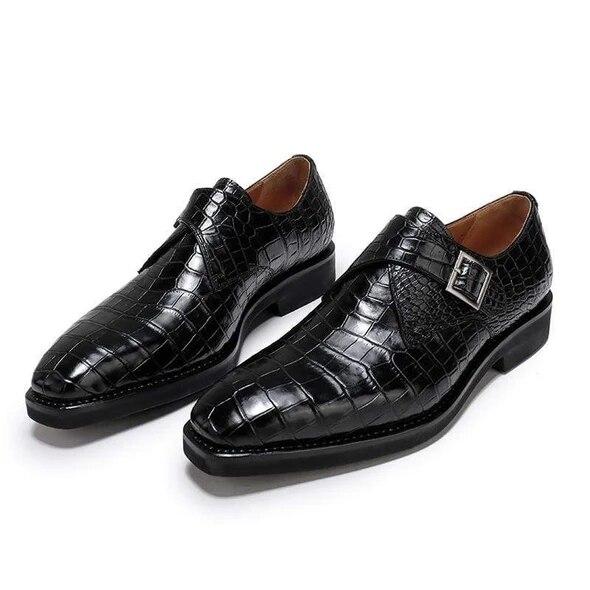 Men Crocodile PU Leather Shoes Low Heel Shoes Buckle Dress Shoes Brogue Shoes Spring Ankle Boots Vintage Classic Male  F58-1