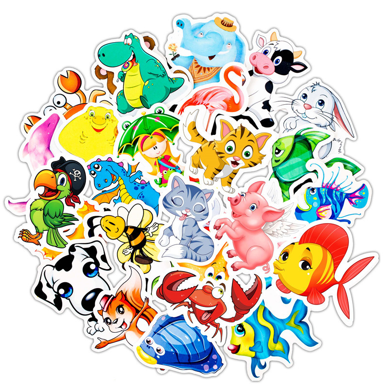 50PCS Cartoon Animal Graffiti Stickers Cartoon Decals Stickers Gifts For Children To Laptop Suitcase Guitar Fridge Bicycle Car