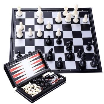 Nuevo de ajedrez magnético Backgammon juego de mesa plegable 3 en 1...