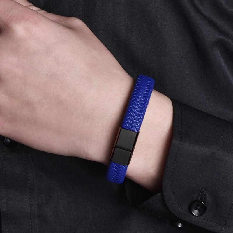 MOZO FASHION 2020 Punk Men Jewelry Blue Genuine Leather Bracelet Black Stainless Steel Magnetic Clasp Fashion Women Bangles 161