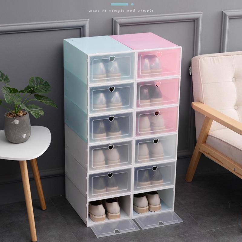1PC Flip Shoes Box Thickened Transparent Drawer Case Plastic Shoe Boxes Stackable Box Shoe Organizer Shoebox Storage Shoe Rack