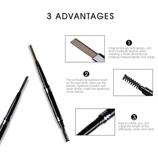 IMAGIC professional waterproof eyebrow pencil with brush double head rotating automatic triangle eyebrow pencil professional thr 5