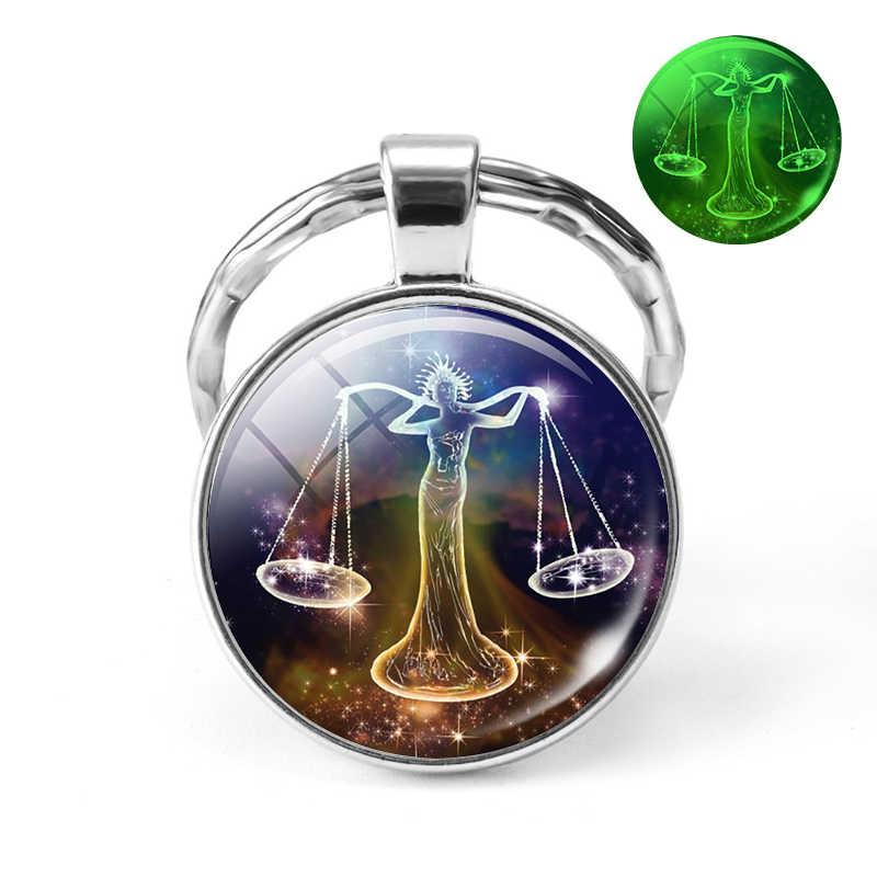 12 Constellation Keychain ส่องสว่างแก้วเครื่องประดับ Cabochon ราศีพวงกุญแจราศีเมษราศีพฤษภจี้ Libra วันเกิดของขวัญ