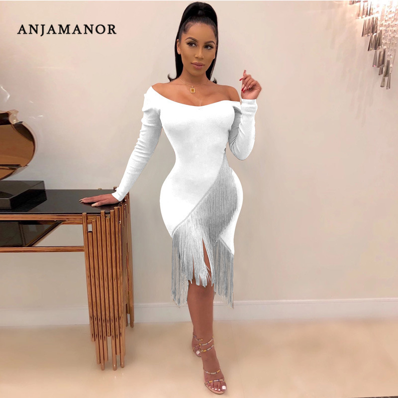 ANJAMANOR сексуальное платье с v-образным вырезом и длинным рукавом, платье с кисточками размера плюс, осенне-зимние платья, элегантное вечернее ...