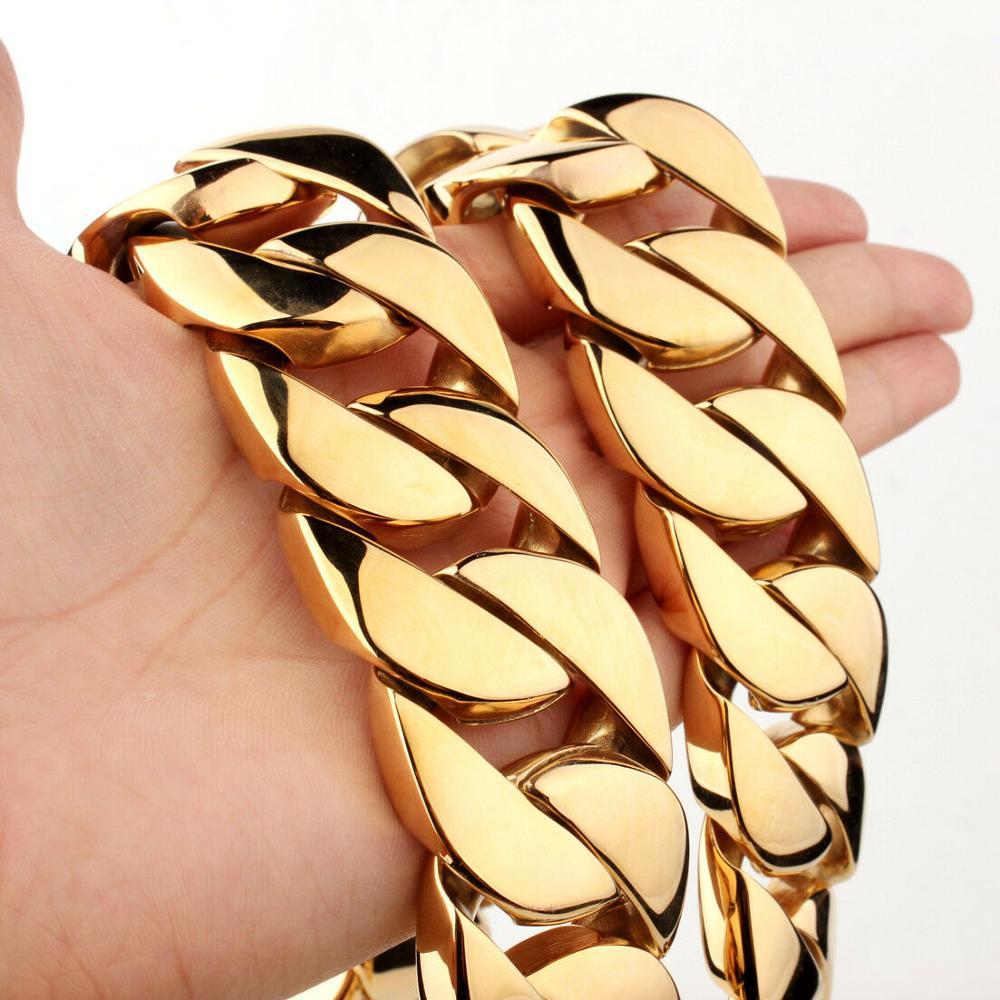 31 мм полированное тяжелое мужское ожерелье из нержавеющей стали 316L золотая цепочка с кубинским кольцом мужское женское ожерелье/браслет 7 40 дюймов-in Ожерелья-цепочки from Украшения и аксессуары