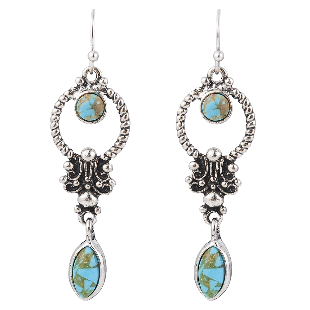 Indian Tribal Personality Natural Dangle Drop Earrings Resin Stone Boho Ethnic Vintage Hanging Earrings 2019 for Women 5