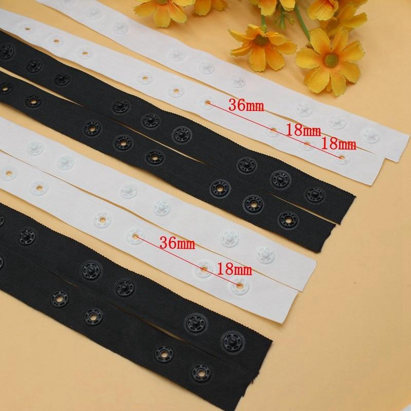 2/5 ярдов/Лот 18 мм черная/белая пластиковая невидимая застежка-Кнопка Лента отделка для детской одежды Швейные аксессуары