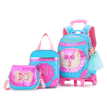 3Pcs/set Children School Bags Waterproof Girls Purple Princess Trolley Backpack Removable Kids Wheel Bag Travel Luggage Mochilas kids wheels removable trolley school backpack children school bags girls kids travel bag princess schoolbag mochilas escolares