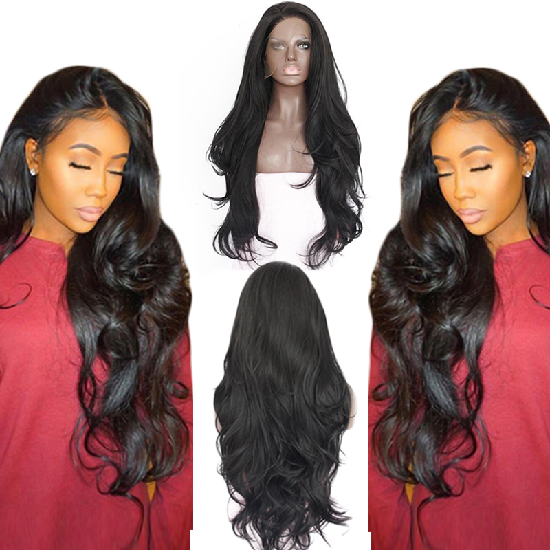Anogol Natural Hairline Glueless High Temperature Fiber Hair Wigs Swiss Long Wavy 1# Black Synthetic Lace Front Wig For Women