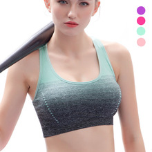 JELLPE Gradient High Stretch Sports Bra for Women,Quick Dry Padded HBack Sports Top,Seamless Yoga Running Fitness Sport Bra Top