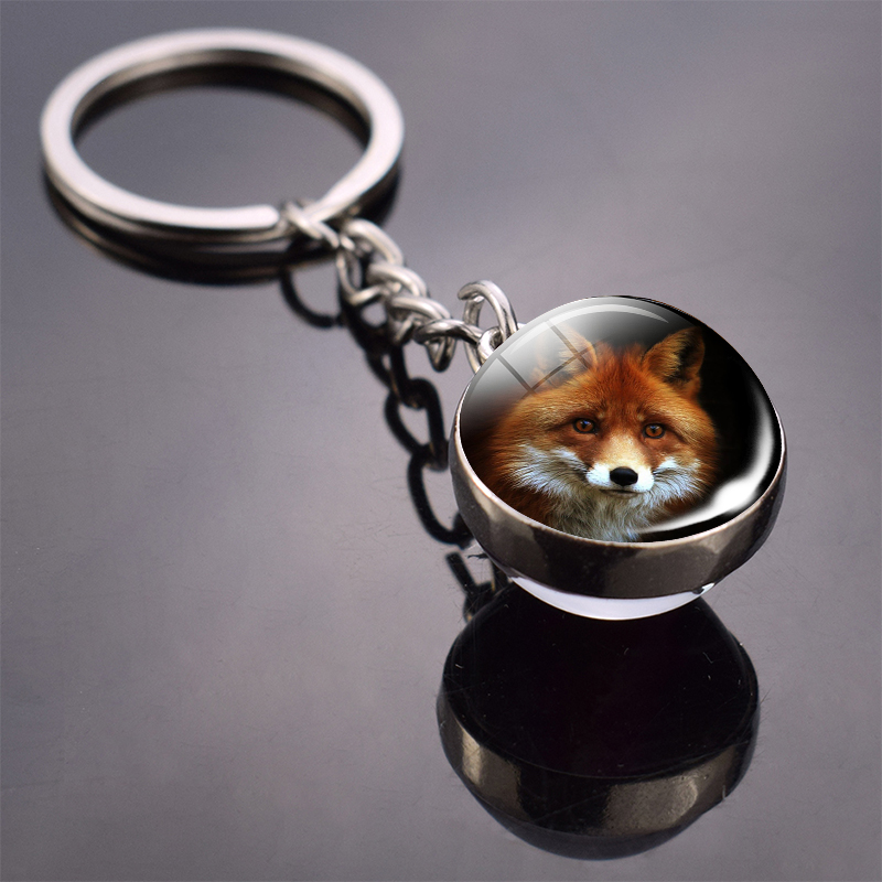 Fox Keychain Lovely Fox Picture Glass Ball Keychain Double Side Cabochon Glass Metal Keyring Christmas Gift for Men for Women 2