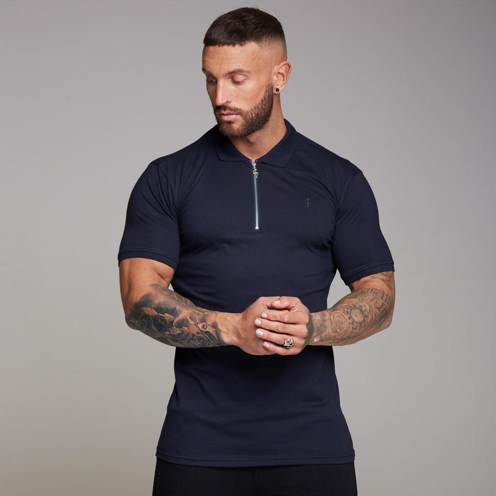 Men Fitness Polo Shirts Male Outdoor Sports Short Sleeves Tops Gyms Fitness Bodybuilding Fashion Casual Zipper Clothing