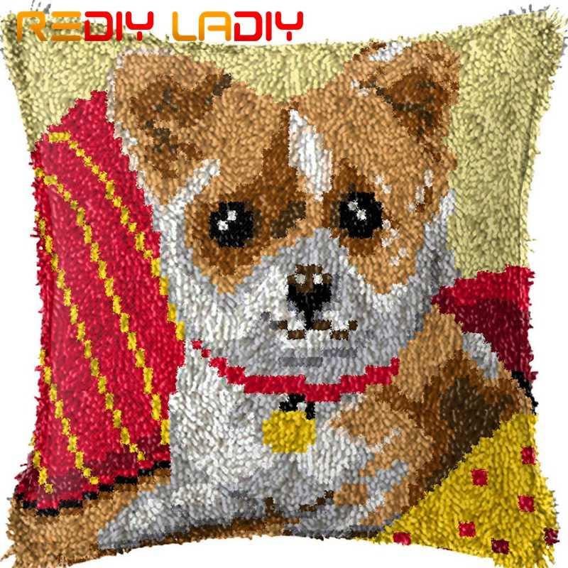 ラッチフッククッションソファ子犬印刷済みキャンバスクッションカバーアクリル糸かぎ針枕ケースキット趣味 & 工芸品家の装飾