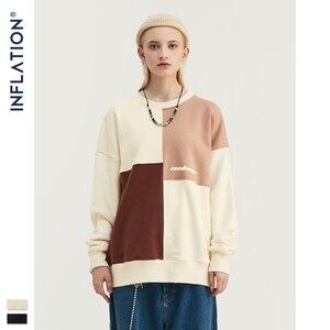 Image 3 - INFLATION DESIGN 2020  Oversized Men Sweatshirt Contrast Color Loose Fit Streetwear Men Autumn Casual Sweatshirt Cotton 9605W