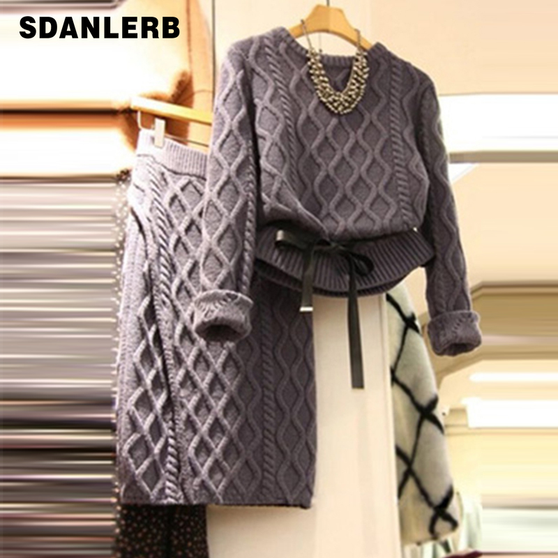 Autumn Korean Sets Women Knitted Sweater + Skirt Suits Women's Two-piece Suit Fashion Temperament Lady Package Hips Skirt Sets