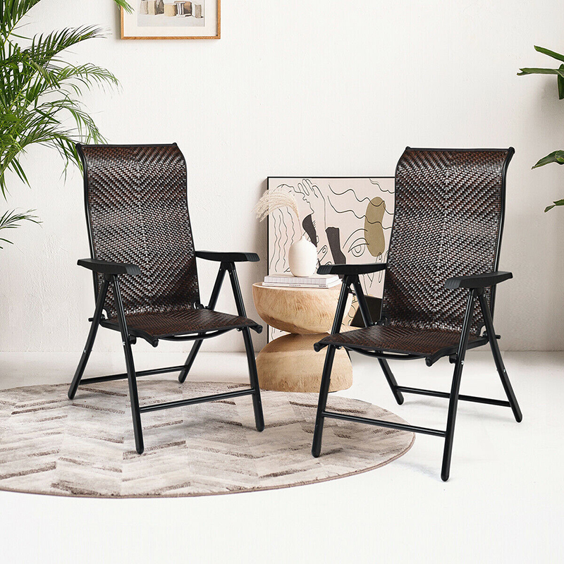 Patio Rattan Folding Reclining Chair 5 adjustable positions Durable weather resistant PE rattan ergonomic curve outdoor Chair