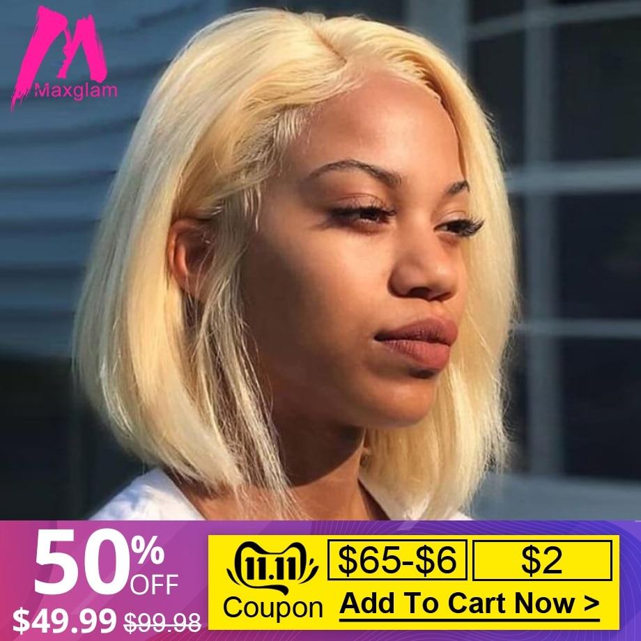 Court Bob Lace Front perruques de cheveux humains brésilien droite longue Blonde 613 T1B/613 perruque Afro Ombre preplumé pour les femmes noires