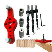 De aleación de Vertical Agujero de bolsillo Jig de la madera 6/8/10mm de perforación de madera Dowelling broca autoajustable guía Kit perforadora