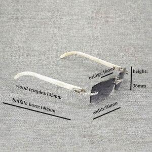 Image 5 - 라인 석 블랙 화이트 버팔로 경적 무테 선글라스 남자 천연 나무 태양 안경 레트로 그늘 oculos 안경 클럽 여름