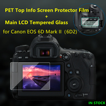 Self adhesive 6DII Tempered Glass Main LCD + Top Info Shoulder Screen Protector Cover Guard for Canon EOS 6D Mark II (6D2)Camera