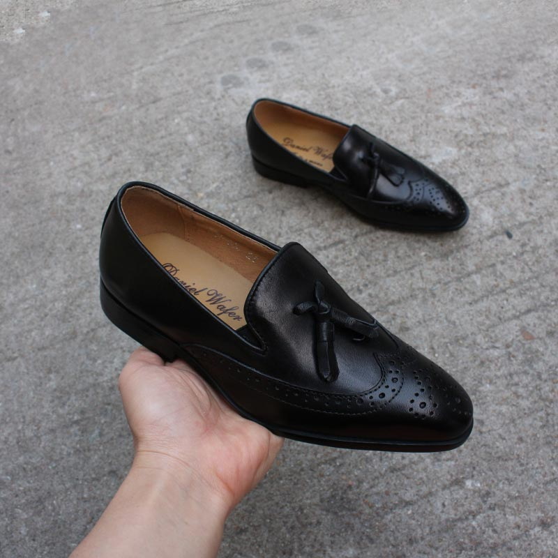 School Shoes Boys Genuine Leather Kids Wedding Dress Shoes Oxford Brogue Fashion Party Children Shoe Slip On Boy Footwear Size 1