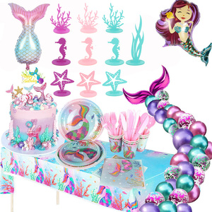 Little Mermaid Party Decor Mermaid tail Party Kit Under the Sea Girl First Birthday baby shower girl Party Supply