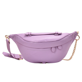 Women's Belt Bag Solid PU leather Metal Chain Sum Per Band Fanny Pack Bananka Fashion Wild Satchel Belly Band Waist Bag fashion waist bag solid color pu leather metal button chain saddle bag fanny pack bananka women wild satchel belly band belt bag