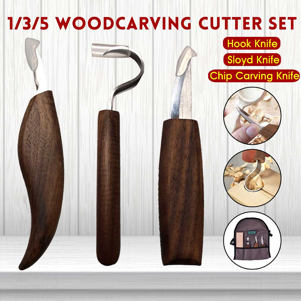 Newest 1/3/5Pcs Wood Carving Knife Chisel Woodworking Cutter Hand Tool Set Peeling Woodcarving Sculptural Spoon Carving Cutter