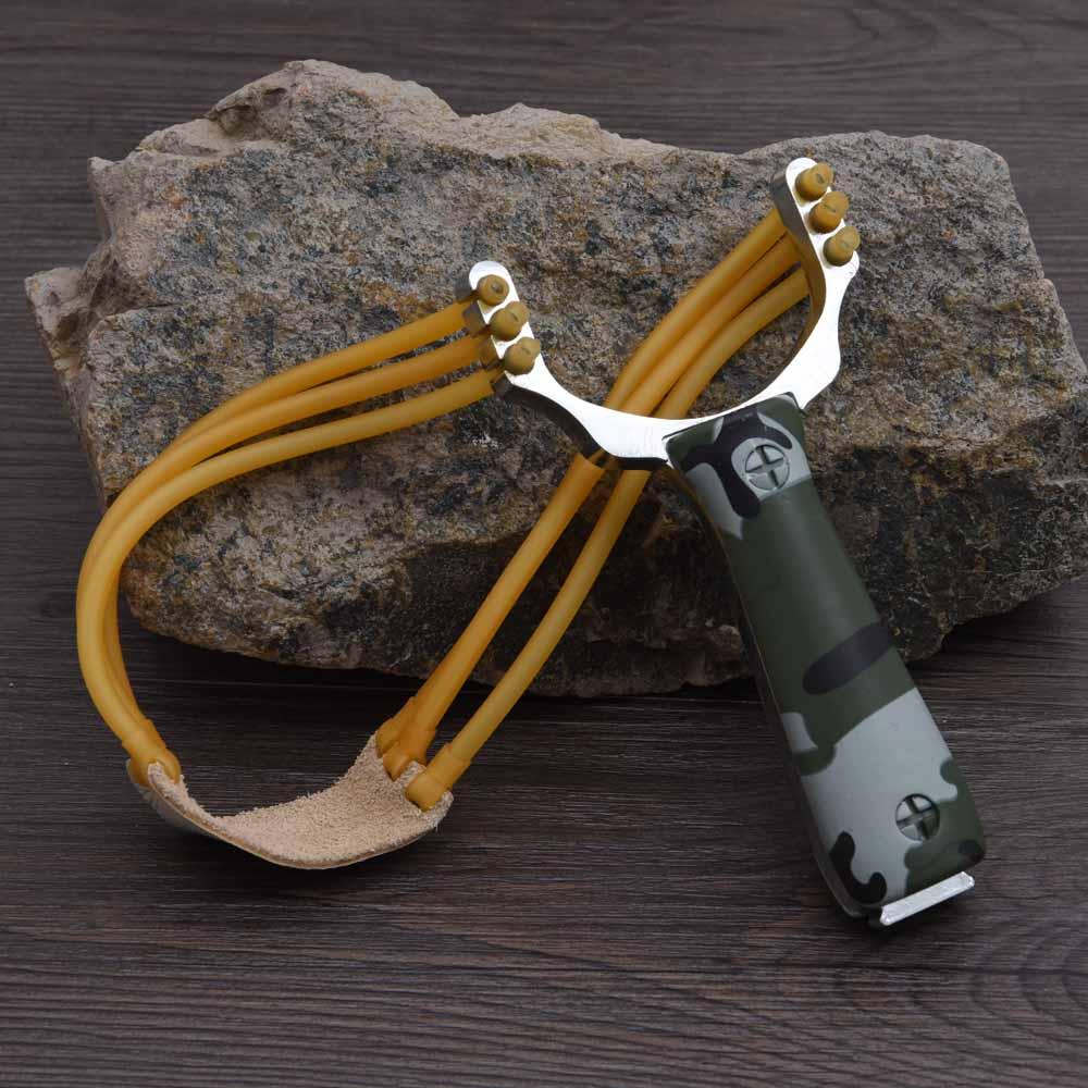 강력한 알루미늄 합금 슬링 샷 석궁 사냥 슬링 샷 투석기 위장 활 야외 캠핑 여행 키트