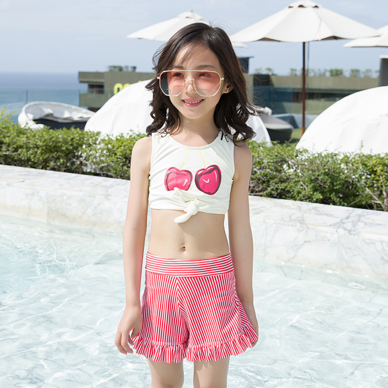 Children Two-piece Swimsuits Cherry Bikini Girls Dress-Swimwear Stripes Vest Tour Bathing Suit Hot Springs Swimwear